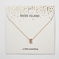 River Island Womens Rose Gold Tone 'E' Initial Pendant Necklace