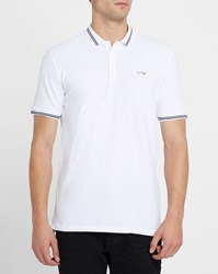 Armani Jeans White Cotton Pique Slim Fit Polo Shirt With Navy Trim And Chest Logo