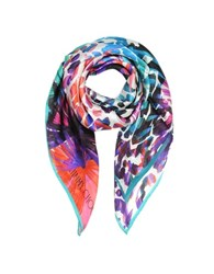 Jimmy Choo Floral Print Pure Silk Square Scarf Purple