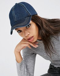 Asos Denim Baseball Cap With Top Stitching Dark Blue