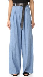 Alice Olivia Eloise Wide Leg Trousers Light Chambray