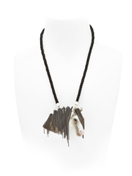 Nach Horse Necklace With Chain Fringe White Black
