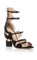 Giambattista Valli Skinny Buckle Strappy Embroidered Heel Black
