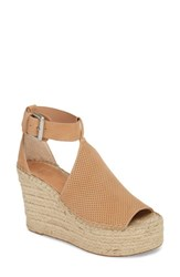 Marc Fisher Ltd Annie Perforated Espadrille Platform Wedge Blush Suede