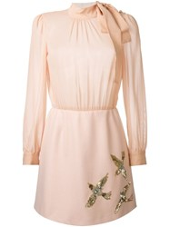 Red Valentino Sequined Bird Detail Dress Pink And Purple