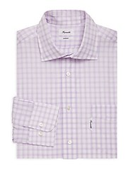 Faconnable Plaid Cotton Casual Button Down Shirt Light Purple
