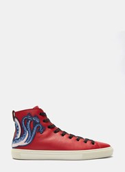 Gucci Dragon Embroidered High Top Sneakers