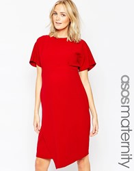 Asos Maternity Dress With Asymmetric Skirt And Tie Red