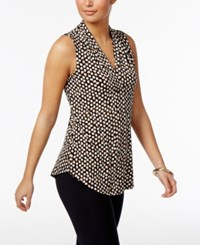 Charter Club V Neck Print Top Only At Macy's Deep Black Combo