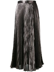 Christopher Kane Metallic Pleated Skirt Women Silk Polyester Acetate 42 Grey