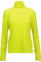 Delpozo Neon Velvet Turtleneck Top Yellow