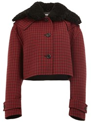Yang Li Cropped Plaid Jacket Red