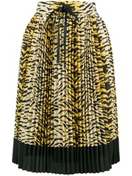 Red Valentino Pleated Leopard Skirt Yellow And Orange