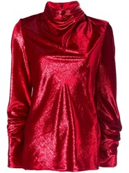 Ellery Cowl Neck Blouse Red