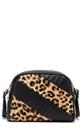 Sole Society Linza Genuine Calf Hair Crossbody Bag Beige Leopard Combo