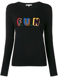 Chinti And Parker Slogan Fitted Sweater Black