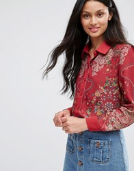 Lavand Red Floral Blouse R Red
