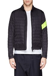 Moncler 'Roi' Neon Stripe Quilted Jacket Black