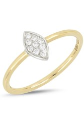 Bony Levy 18K White And Yellow Gold Diamond Detail Marquise Ring 0.08 Ctw 18K White Yellow Gold