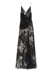 Saint Laurent Floral Fil Coupe Gown Black