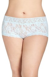 Hanky Panky Plus Size Women's Stretch Lace Boyshorts Celeste Blue