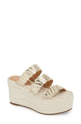 Marc Fisher Ltd Rosie Espadrille Platform Sandal Gold Leather