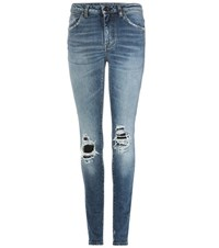Saint Laurent Distressed Skinny Jeans With Leather Blue
