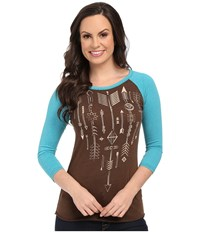 Rock And Roll Cowgirl 3 4 Sleeve Knit 48T5048 Chocolate Women's Clothing Brown