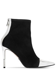 Balmain 110Mm Blair Suede And Metallic Ankle Boots Black Silver