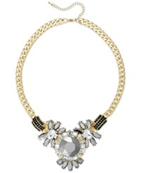 Bar Iii Gold Tone Gray Crystal Stone Statement Necklace Two Tone