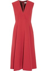 Jil Sander Pleated Crepe Midi Dress Red