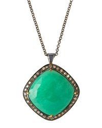 Bavna Cushion Cut Chrysoprase And Diamond Pendant Necklace