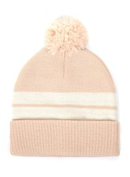 Topman Pink Nude And Cream Stripe Bobble Beanie Hat