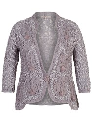 Chesca Lace Cornelli Embroidered Trim Jacket Silver Grey