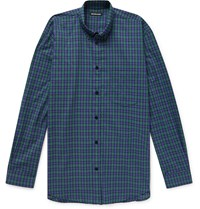 Balenciaga Oversized Button Down Collar Logo Print Checked Cotton Poplin Shirt Green