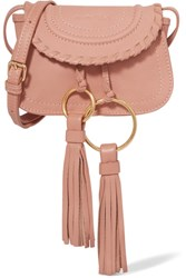 See By Chloe Polly Mini Tasseled Textured Leather Shoulder Bag Pink