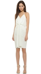 Tbags Los Angeles Knee Length Dress With Knot Detail White