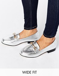 Asos Mineral Wide Fit Loafers Silver