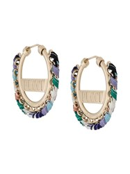 Emilio Pucci Logo Engraved Woven Hoop Earrings Gold