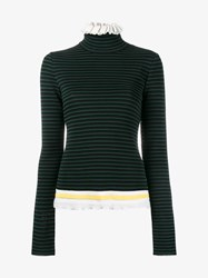 Msgm Cotton Blend Ruffle Stripe Jumper Black Multi Coloured White Green Yellow Blue