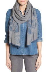 Nordstrom Women's Graphic Floral Print Scarf Blue Combo