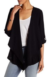 Bobeau Roll Sleeve Crepe Jacket Black