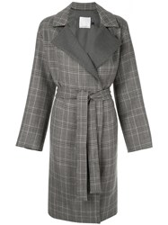 Christopher Esber Belted Check Coat Grey