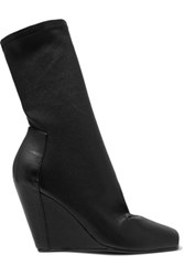 Rick Owens Elasticated Faux Leather Peep Toe Wedge Boots Black