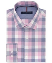 Tommy Hilfiger Men's Slim Fit Non Iron Pink Check Dress Shirt