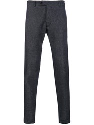Al Duca D'aosta 1902 Fitted Tailored Trousers Linen Flax Polyamide Viscose Other Fibers Blue