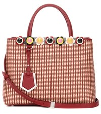 Fendi 2Jours Petite Leather Trimmed Raffia Tote Red