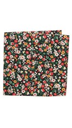 The Hill Side Small Flower Print Pocket Square Black