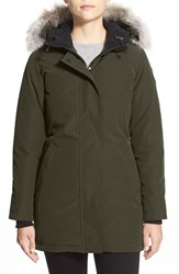 Canada Goose Women's 'Victoria' Slim Fit Down Parka With Genuine Coyote Fur Trim Military Green