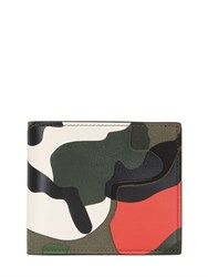 Valentino Camo Leather And Cordura Classic Wallet